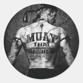 Combattant thaïlandais vintage de Muay Sticker Rond