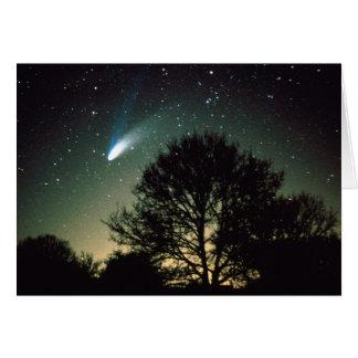 Comète Vigoureuse-Bopp et carte de voeux d'arbre