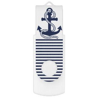 Commande de bleu marine/blanche nautique d'ancre clé USB 2.0 swivel