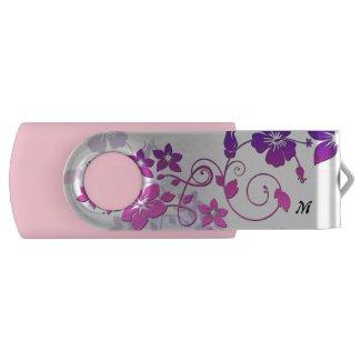 Clé USB rose, motif floral