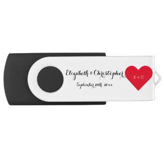 Commande nommée d'USB de coeur de monogramme de Clé USB 2.0 Swivel