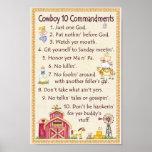 Commandements du cowboy 10 - amusement de ferme posters