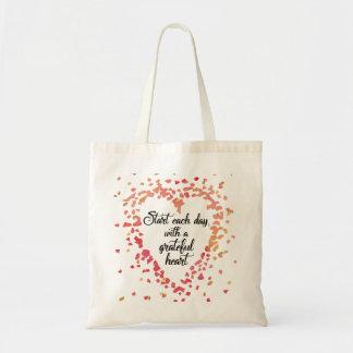 Commencez chaque citation inspirée de coeur sacs en toile