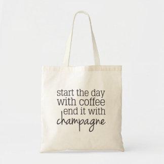 Commencez par l'extrémité de café avec le sac