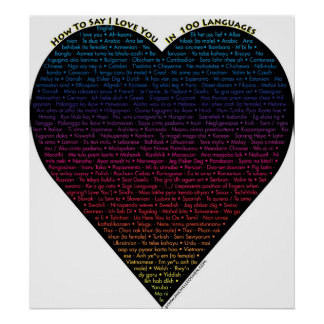 Comment dire je t'aime dans 100 langues différente affiche