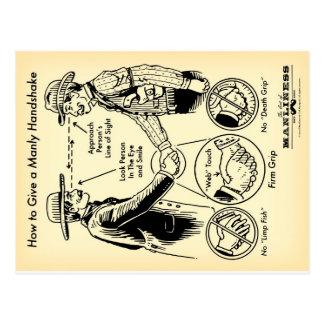 Comment donner une carte postale virile de poignée
