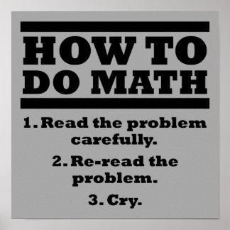 Comment faire le signe drôle d'affiche de maths posters