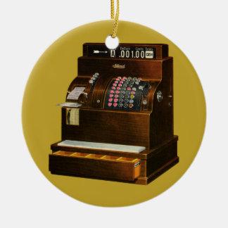 Commerce de détail vintage, caisse enregistreuse ornement rond en céramique