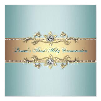 Communion de bleu turquoise de filles première carton d'invitation  13,33 cm