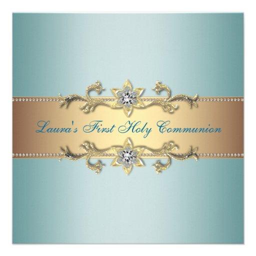 Communion de bleu turquoise de filles première invitations
