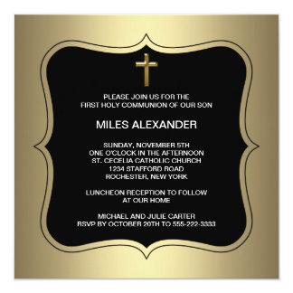 Communion de garçons croisés noirs d'or première carton d'invitation  13,33 cm