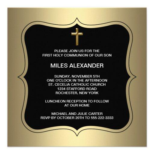 Communion de garçons croisés noirs d'or première invitations personnalisées