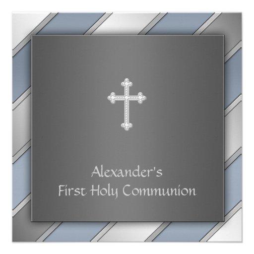 Communion de garçons de rayure bleue première invitations personnalisées