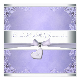 Communion de pourpre croisé de filles de lavande carton d'invitation  13,33 cm
