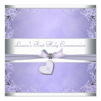Communion de pourpre croisé de filles de lavande invitations personnalisées