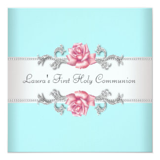 Communion de Teal de filles turquoises de rose de Carton D'invitation 13,33 Cm