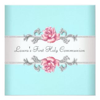 Communion de Teal de filles turquoises de rose de Invitations Personnalisables