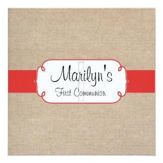 Communion de toile de jute rouge et beige de pavot carton d'invitation  13,33 cm
