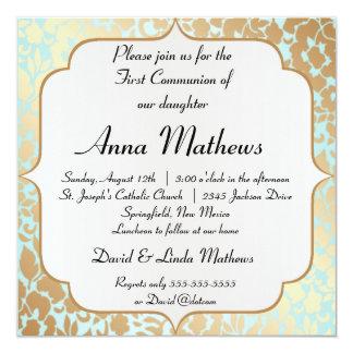 Communion florale d'Aqua d'or métallique première Carton D'invitation 13,33 Cm