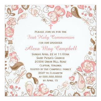 Communion florale du coeur rose de la fille carton d'invitation  13,33 cm