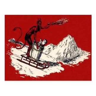 Commutateur rouge de montagne de Krampus Sleigh Carte Postale