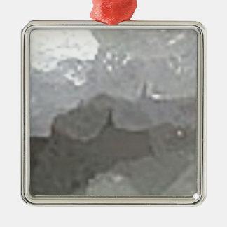 compagnie en cristal ornement carré argenté