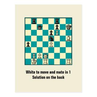 Compagnon d'échecs en 1 carte postale du puzzle #1