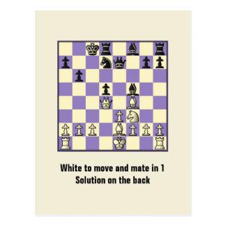 Compagnon d'échecs en 1 carte postale du puzzle #2