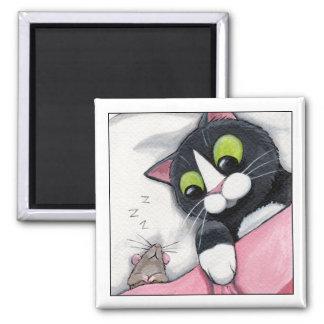 Compagnon somnolent - aimant de chat