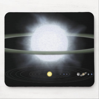 Comparaison de la taille d'une étoile hypergiant tapis de souris