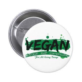 Compassion végétalienne d'amour de paix badge rond 5 cm