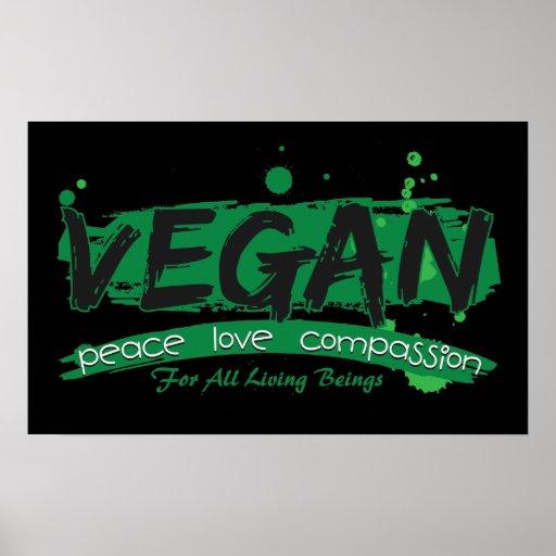 Compassion végétalienne d'amour de paix affiche