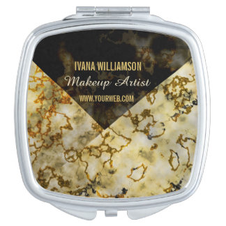 Composez l'or criqué Marbleized luxueux d'artiste Miroirs De Poche