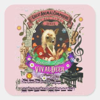 Compositeur animal Vivaldi de faon mignon de cerfs Sticker Carré