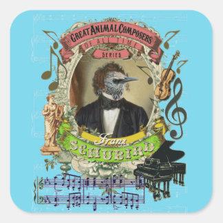 Compositeurs animaux Schubert d'oiseau drôle de Sticker Carré
