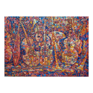 Composition avec la peinture d'instruments de musi affiches