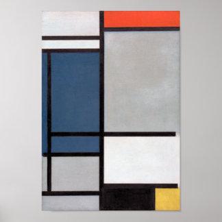 Composition en Mondrian avec rouge, bleu, noir, Affiche
