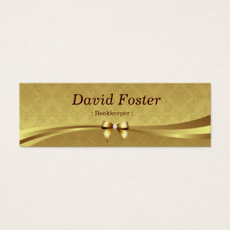 Comptable - damassé brillante d'or mini carte de visite