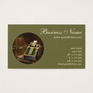Comptable vintage d'affaires, machine à cartes de visite