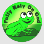 Comptez entièrement sur Dieu F.R.O.G. Autocollant Rond