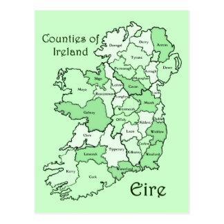 Comtés de carte de l'Irlande Carte Postale