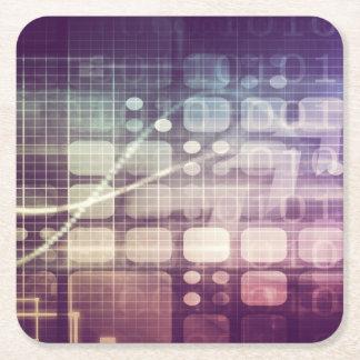 Concept abstrait futuriste sur la technologie dessous-de-verre carré en papier