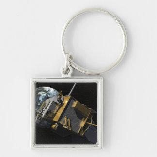 Concept d'artiste de la reconnaissance lunaire porte-clé carré argenté