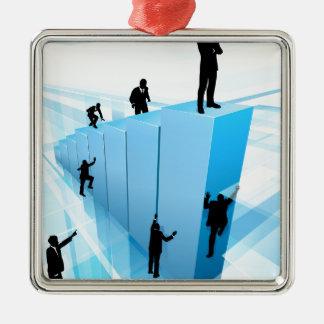 Concept de concurrence de personne réussie ornement carré argenté