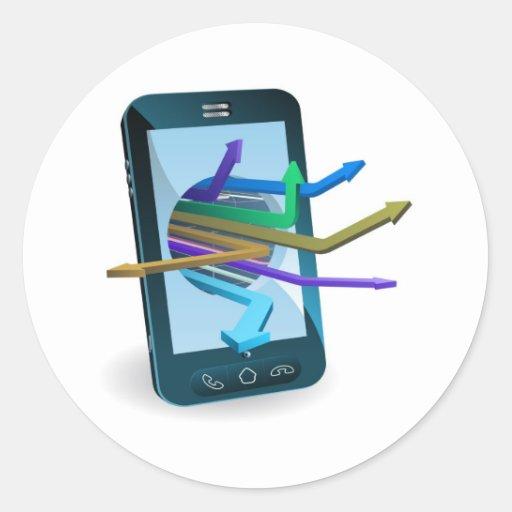 Concept de flèches de téléphone adhésif rond