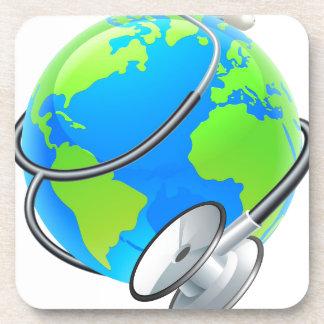 Concept de globe de la terre de jour de santé du sous-bock