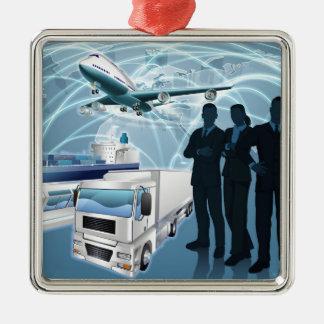 Concept de logistique d'équipe d'affaires ornement carré argenté