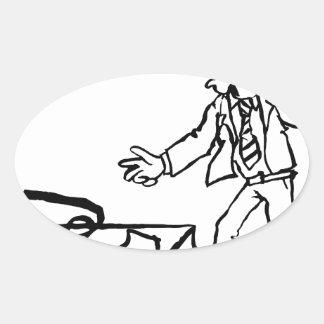 Concept de piège d'argent d'homme d'affaires sticker ovale