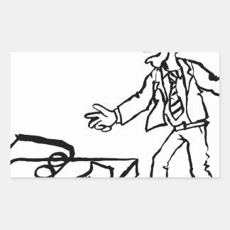 Concept de piège d'argent d'homme d'affaires sticker rectangulaire