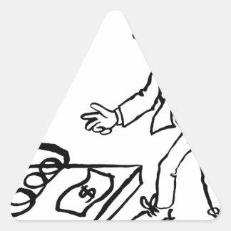 Concept de piège d'argent d'homme d'affaires sticker triangulaire